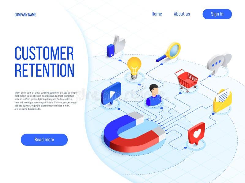 Kunden-Zurückhalten Geschäftsmarketing, Branding zieht Kunden an und erhöht Käuferloyalität Attraktiver Markenvektor lizenzfreie abbildung