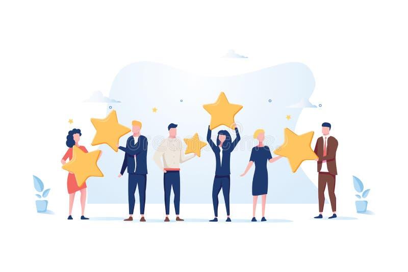 Kundenberichtbewertung Verschiedene Leute geben Berichtbewertung und -feedback Flache Vektorillustration lizenzfreie abbildung