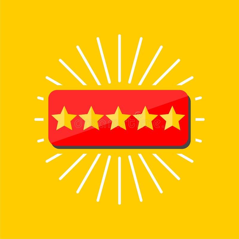 Kundenberichtkonzept, veranschlagende goldene Sterne stock abbildung