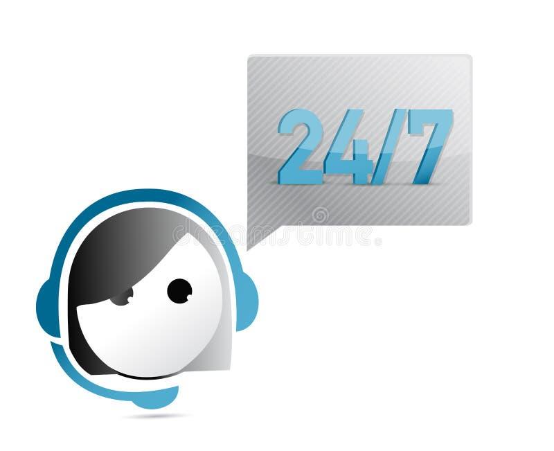 24 7 Kundenbetreuungs-Illustrationsdesign stock abbildung