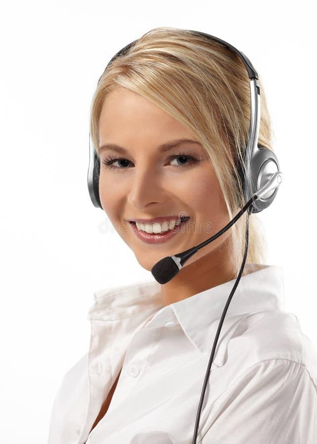 Kundendienst-Bediener-Getrenntes Weiß stockfoto