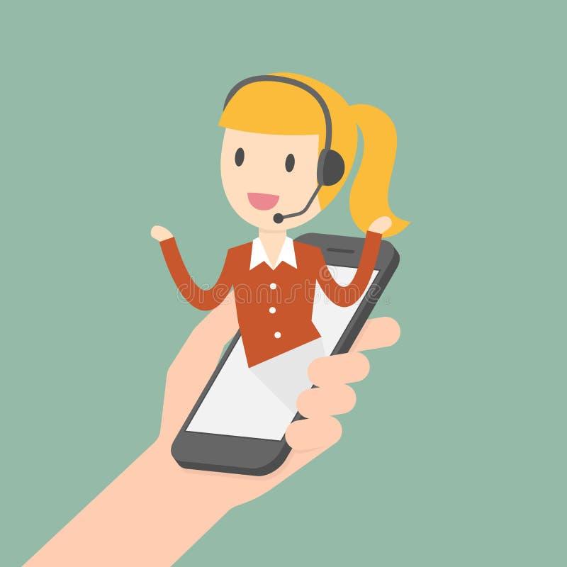 Kundendienst eine schöne lächelnde Geschäftsfrau vektor abbildung