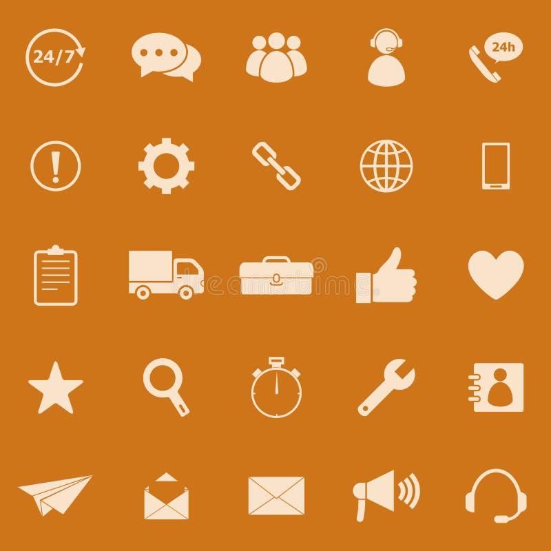Kundendienst-Farbikonen auf orange Hintergrund vektor abbildung