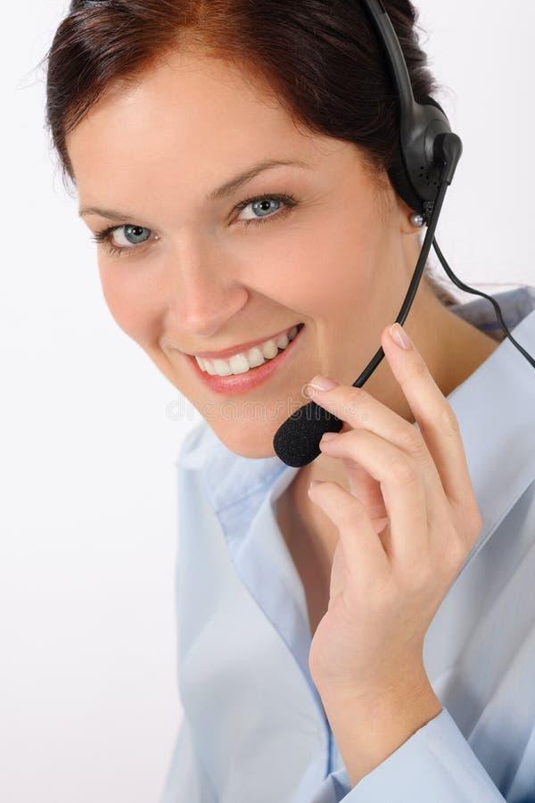 Kundendienst-Frauen-Kundenkontaktcenter-Telefonkopfhörer stockfoto