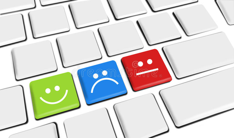 Kundendienst-Ikonen glücklich und traurige Kunden auf Tasten stock abbildung