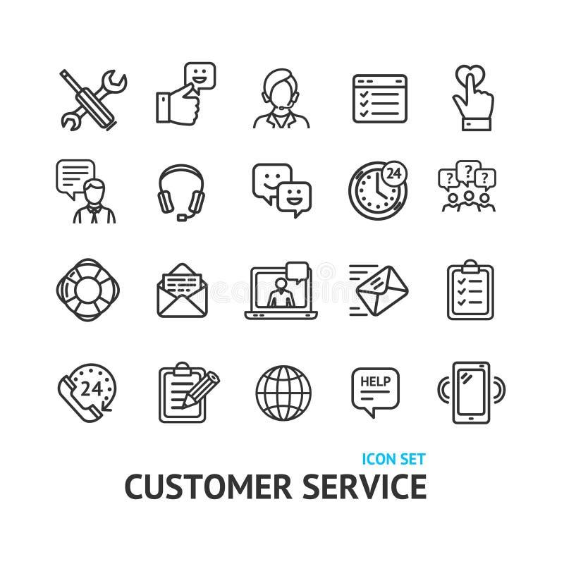 Kundendienst-Zeichen-schwarze dünne Linie Ikonen-Satz Vektor lizenzfreie abbildung