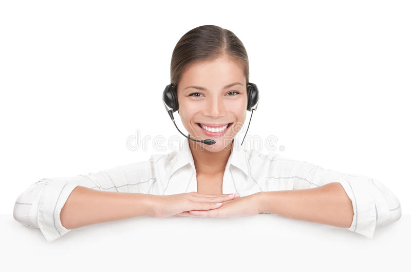 Kundendienst-Zeichenfrau mit Kopfhörer stockbild