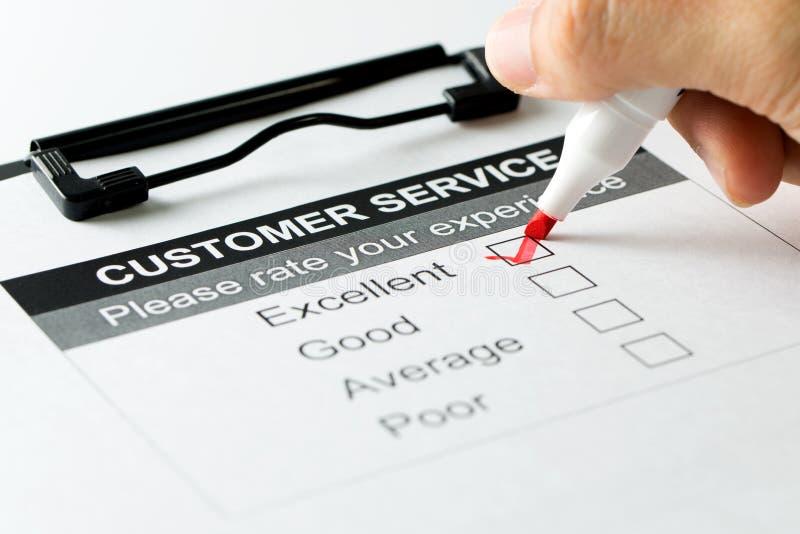 Kundendienst-Zufriedenheitsumfrageform lizenzfreies stockfoto