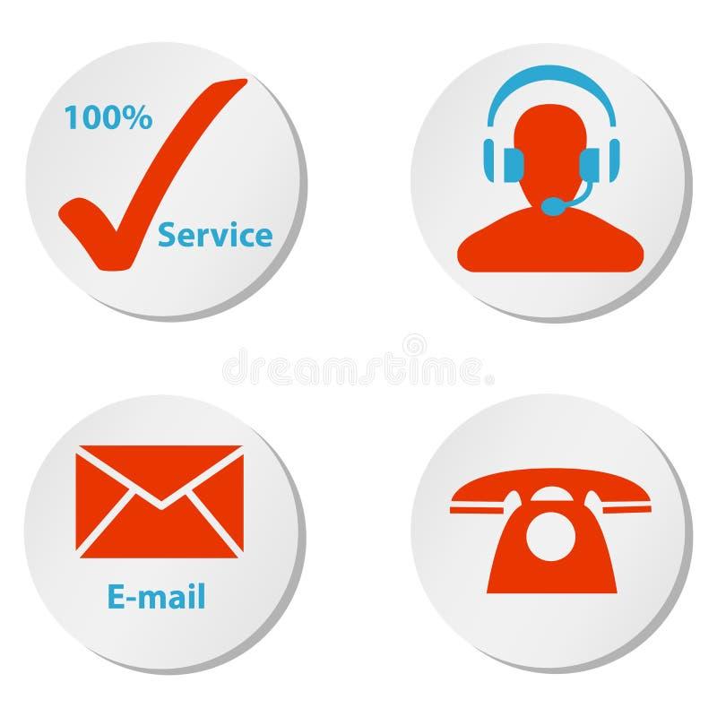 Kundendienstikonenknöpfe und -symbole stock abbildung