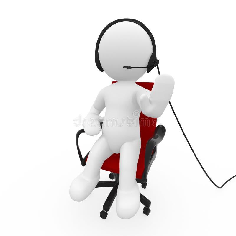 Kundendienstleitprogramm, das auf Kopfhörer sich unterhält stock abbildung