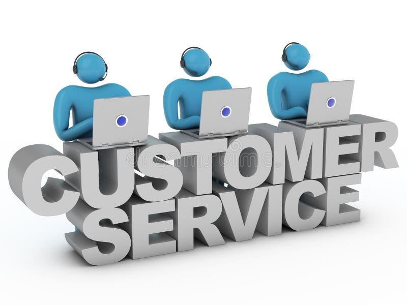 Kundendienstwörter und Gruppe Arbeitskräfte, die hinten stehen lizenzfreie abbildung