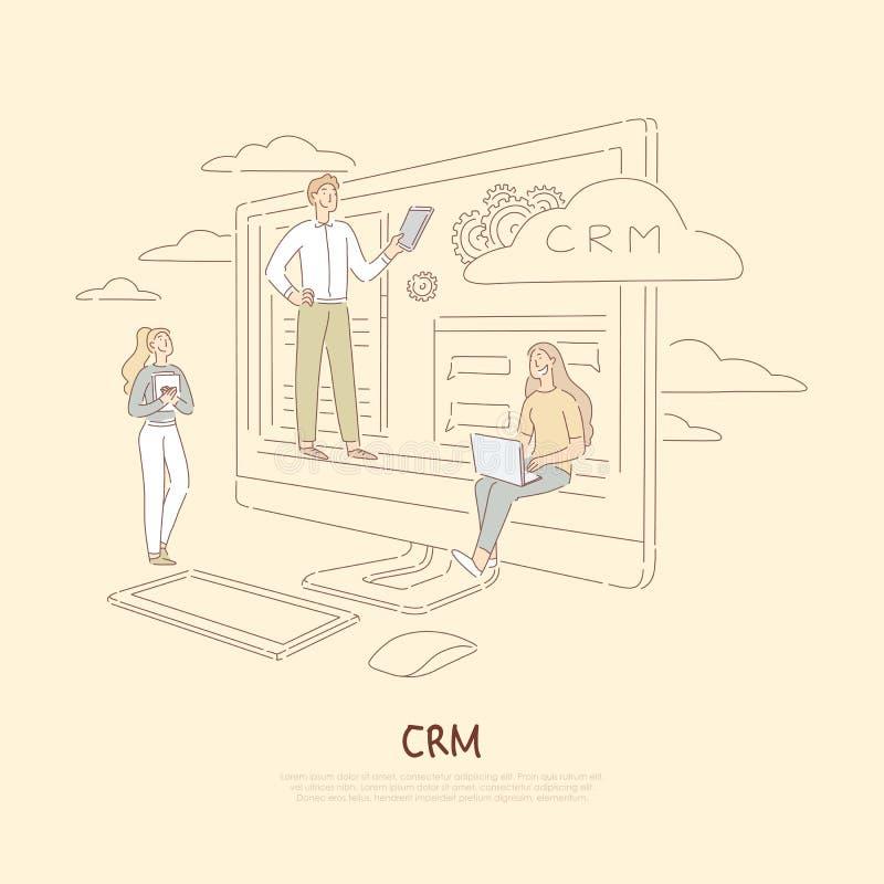 Kundenfördersystem, Firmenkommunikationsservice, junge Kollegen, die Daten, crm Software-Fahne analysieren stock abbildung