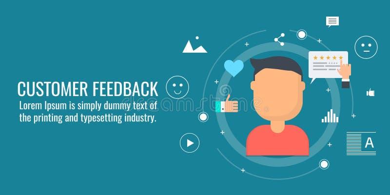 Kundenfeedback, on-line-Berichte, Kundenerfahrung, glücklicher Kunde, Bewertungskonzept Flache Designvektorfahne lizenzfreie abbildung