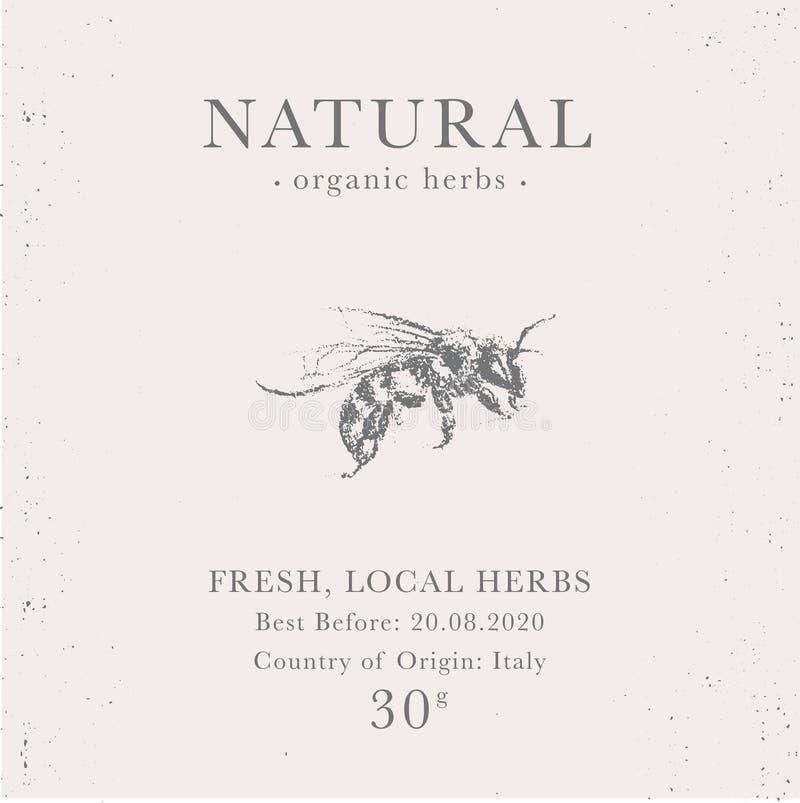 Kundengerechter Weinleseaufkleber von natürlichen organischen Honigprodukten lizenzfreies stockfoto
