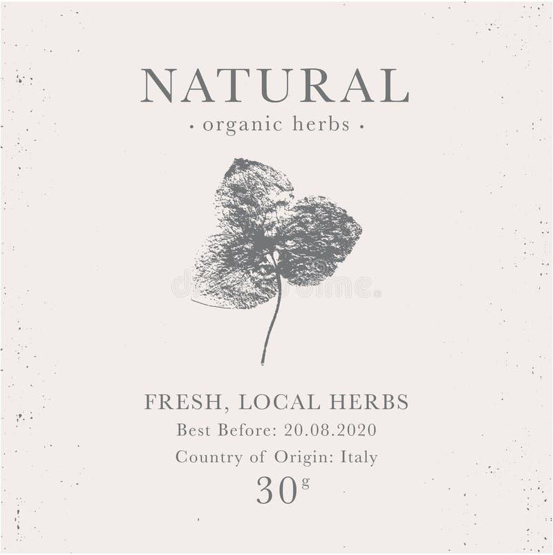 Kundengerechter Weinleseaufkleber von natürlichen organischen Kräuterprodukten lizenzfreies stockbild