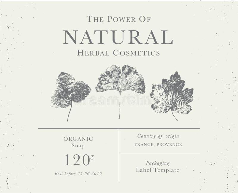 Kundengerechter Weinleseaufkleber von natürlichen organischen Kräuterprodukten stockfoto