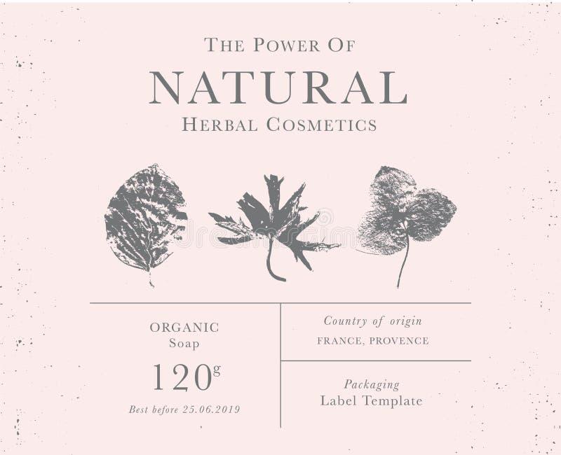 Kundengerechter Weinleseaufkleber von natürlichen organischen Kräuterprodukten stockfotografie