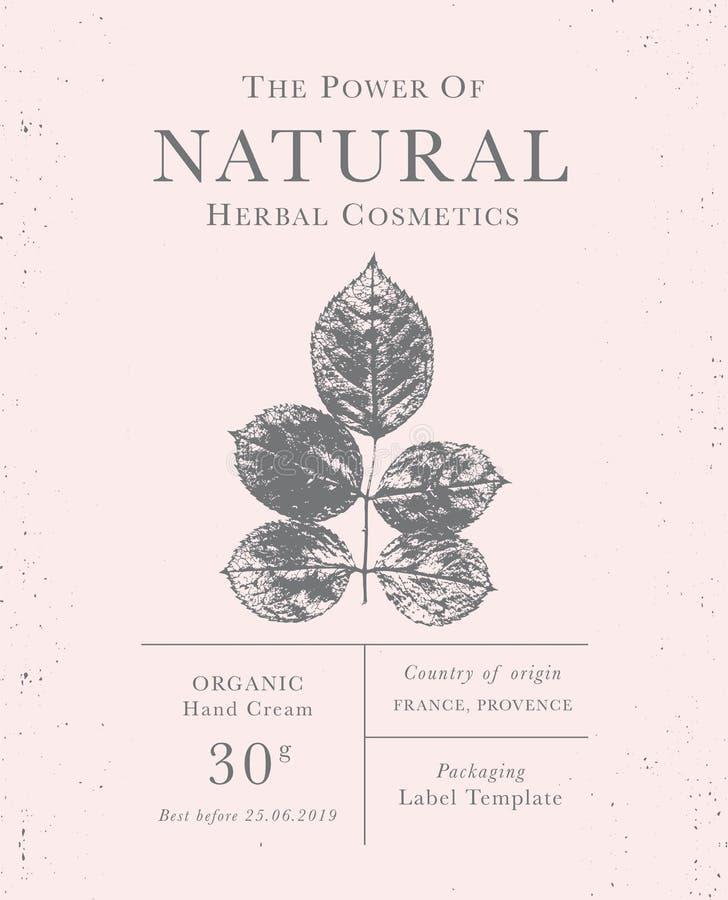 Kundengerechter Weinleseaufkleber von natürlichen organischen Kräuterprodukten stockfotos