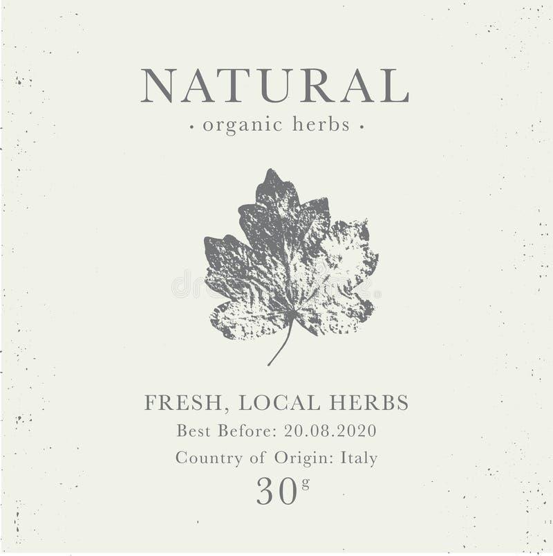 Kundengerechter Weinleseaufkleber von natürlichen organischen Kräuterprodukten lizenzfreie stockbilder