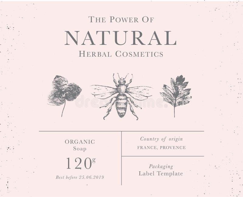 Kundengerechter Weinleseaufkleber von natürlichen organischen Kräuterprodukten lizenzfreie stockfotografie