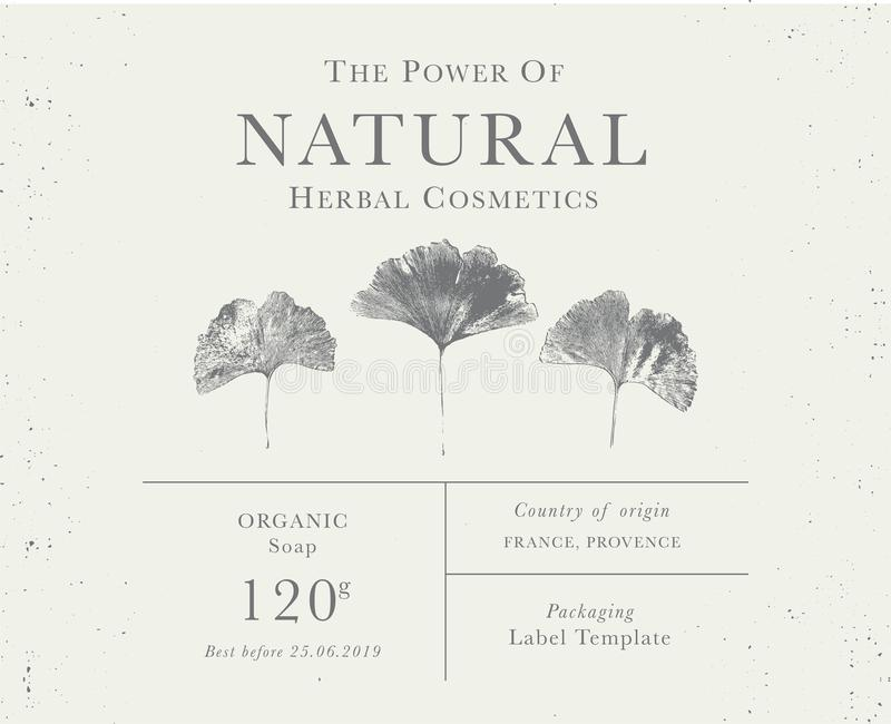 Kundengerechter Weinleseaufkleber von natürlichen organischen Kräuterprodukten lizenzfreies stockfoto