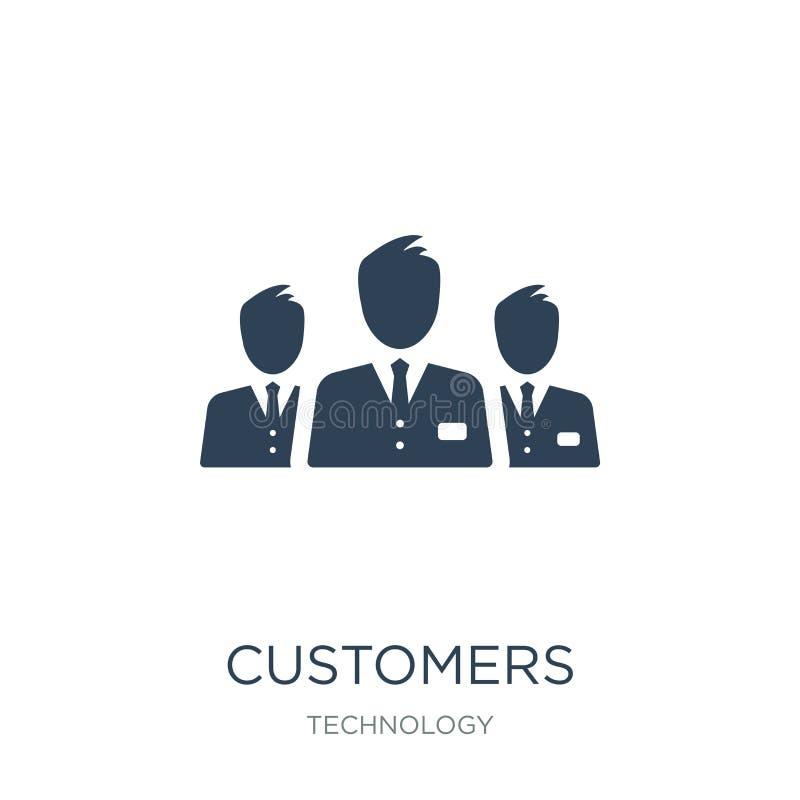Kundenikone in der modischen Entwurfsart Kundenikone lokalisiert auf weißem Hintergrund einfache und moderne Ebene der Kundenvekt stock abbildung