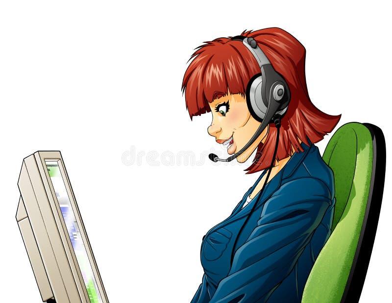 Kundenkontaktcentermädchen Stockfoto