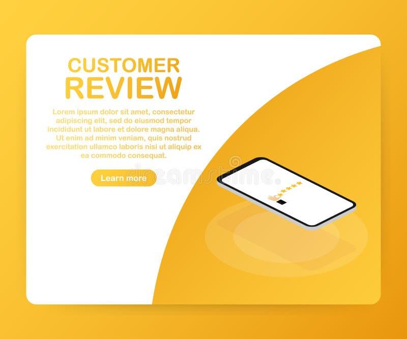 Kundenrezension, Brauchbarkeits-Bewertung, Feedback, isometrisches Konzept des Bewertungssystems Auch im corel abgehobenen Betrag vektor abbildung