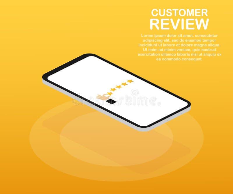 Kundenrezension, Brauchbarkeits-Bewertung, Feedback, isometrisches Konzept des Bewertungssystems Auch im corel abgehobenen Betrag lizenzfreie abbildung