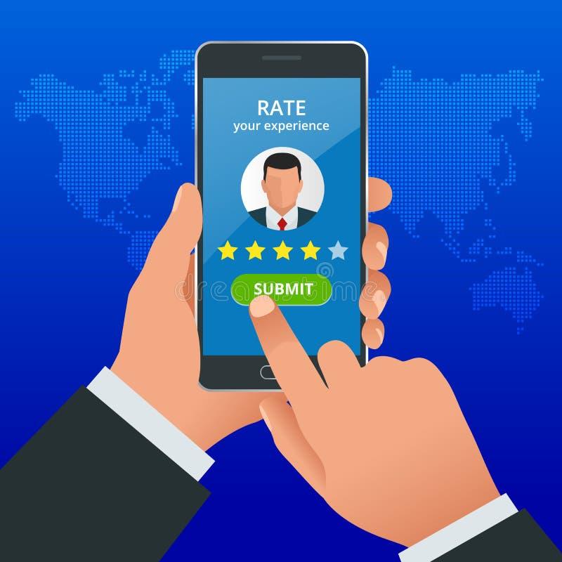 Kundenrezensionen Wiederholen Sie Bewertung am Handy, Feedbackvektorillustration Lesekundenrezension im intelligenten Telefon vektor abbildung