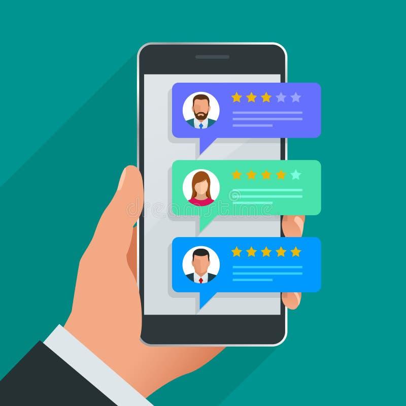 Kundenrezensionen Wiederholen Sie Bewertung am Handy, Feedbackvektorillustration Lesekundenrezension im intelligenten Telefon stock abbildung