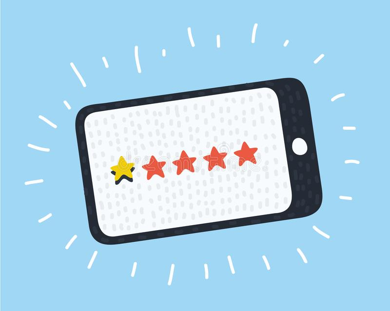 Kundenrezensionskonzept Auch im corel abgehobenen Betrag Veranschlagende goldene Sterne Feedback, Ansehen, Bericht Eine Stern-Bew vektor abbildung