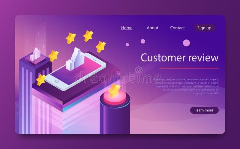 Kundenrezensionskonzept Veranschlagende goldene Sterne Feedback, Ansehen und Qualitätskonzept stock abbildung
