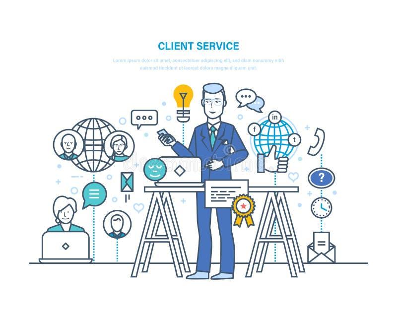 Kundenservice Feedback, Interaktion durch Kommunikationsmittel, soziale Netzwerke vektor abbildung