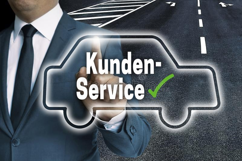 Kundenservice In German Customer Service With Car Touchscreen Stock