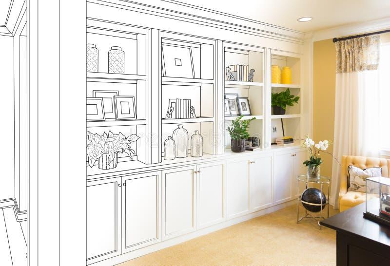 Kundenspezifisch - eingebaute Regale und Kabinette Konstruktionszeichnung Gradating lizenzfreie stockbilder