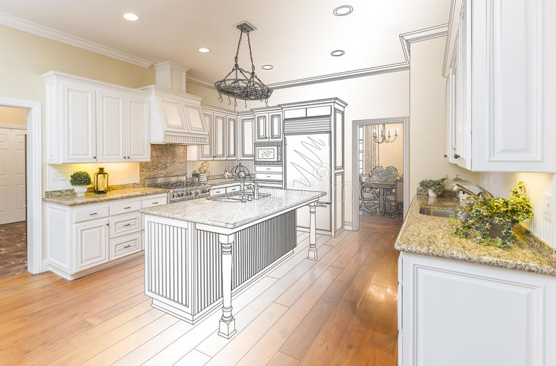 Kundenspezifische Küchen-Konstruktionszeichnung und Gradated-Foto-Kombination lizenzfreies stockfoto