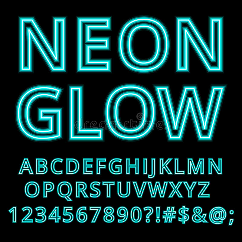 Kundenspezifischer handgefertigter Guss des Neonglühenalphabetes lizenzfreie abbildung