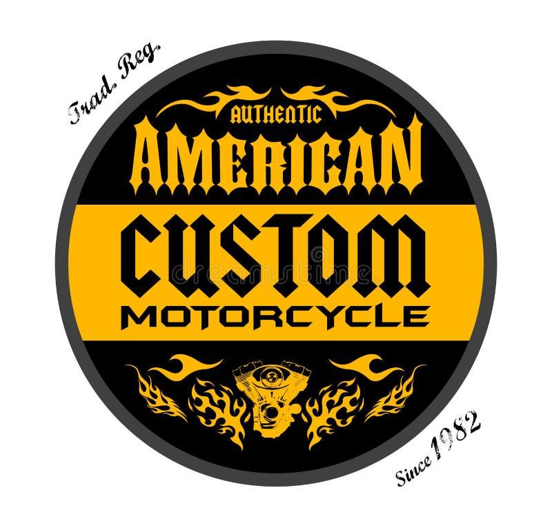 Kundenspezifisches Motorrad-amerikanischer Ausweisdruckentwurf, Vektoremblemillustration vektor abbildung