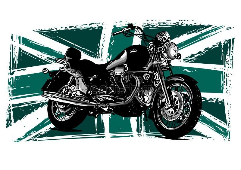 Kundenspezifisches Motorrad mit Großbritannien-Flagge im Hintergrund vektor abbildung