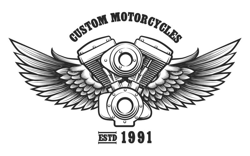 Kundenspezifisches Motorradwerkstatt Emblem vektor abbildung