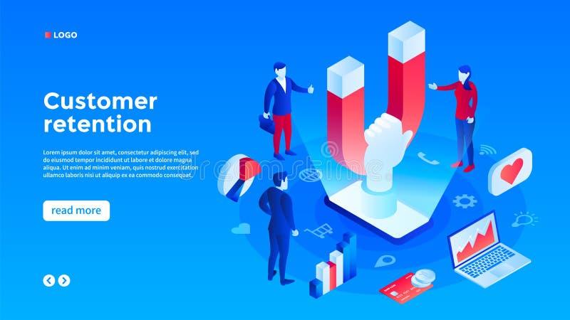 Kundenzurückhalten-Konzepthintergrund, isometrische Art lizenzfreie stockbilder