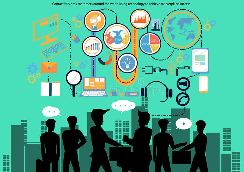 Kunder för vektorkontaktaffär runt om världen som använder teknologi för att uppnå design för marknadsplatsframgånglägenhet vektor illustrationer