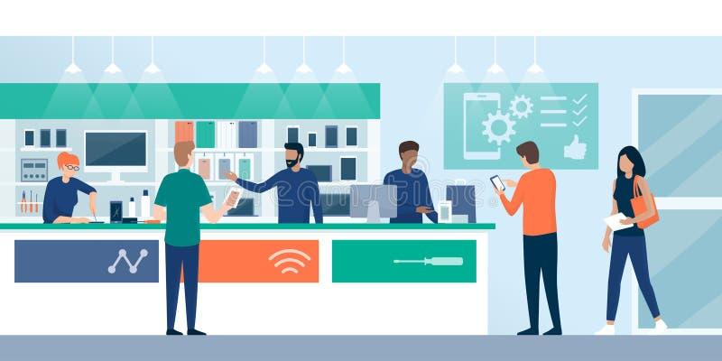 Kunder som shoppar i ett telefonreparationslager stock illustrationer