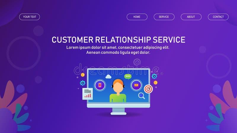 Kundförhållandeservice, online-service, hjälpskrivbord för kunder, service för ledning för data för kundprofil stock illustrationer