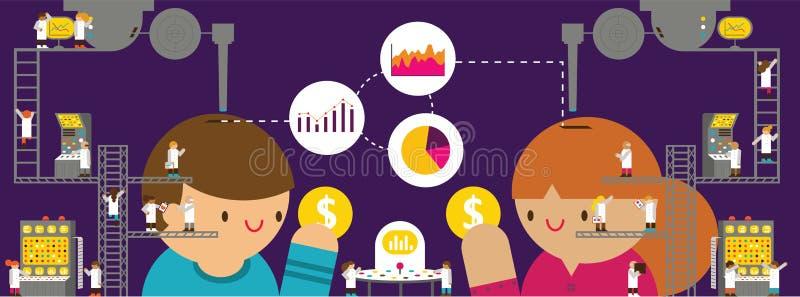 Kundforskning & analys royaltyfri illustrationer