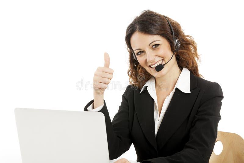 Kundinservice-Arbeitskraft, lächelnder Betreiber des Call-Centers stockbild