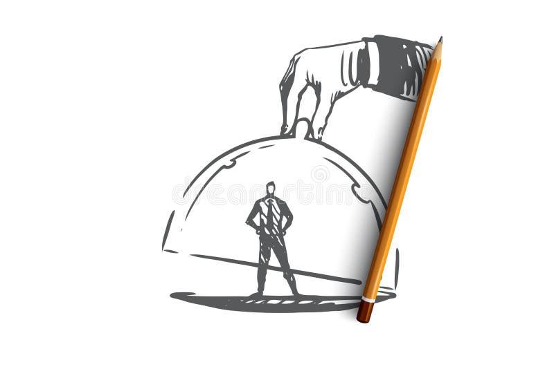 Kundlojalitet, affär, marknadsföring, tjänste- begrepp Hand dragen isolerad vektor royaltyfri illustrationer
