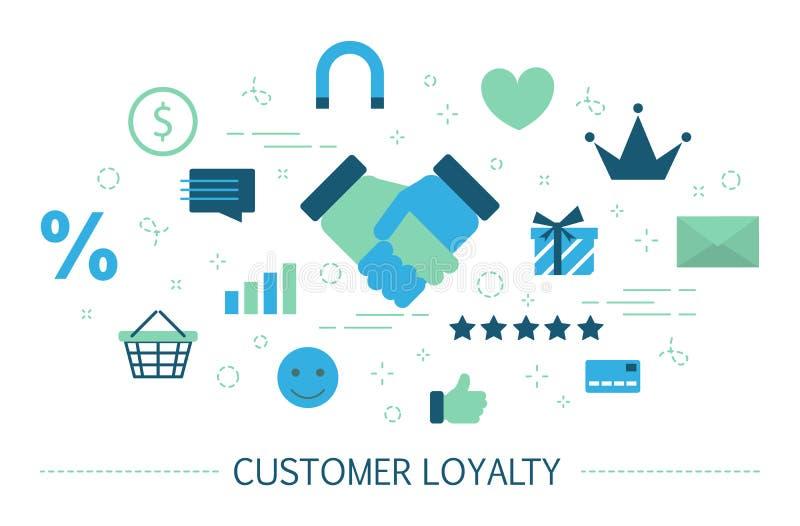 Kundlojalitetbegrepp Tilldra klienter och bygg förhållanden royaltyfri illustrationer