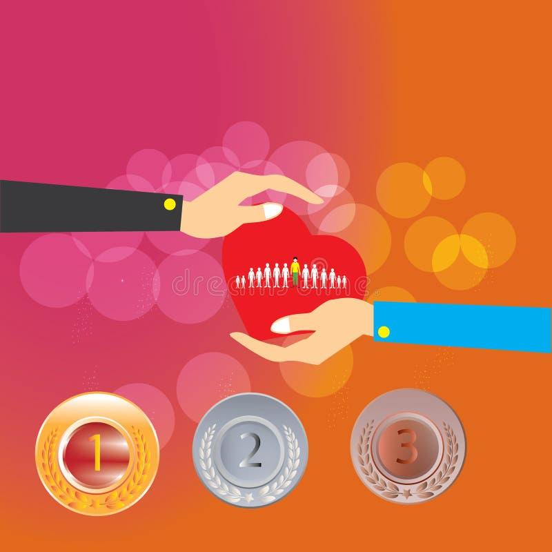Kundomsorg, omsorg för anställda, fackförening, CRM och livförsäkringbegrepp royaltyfri illustrationer